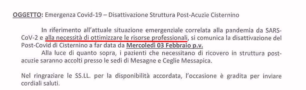 Chiude il Post-Covid di Cisternino
